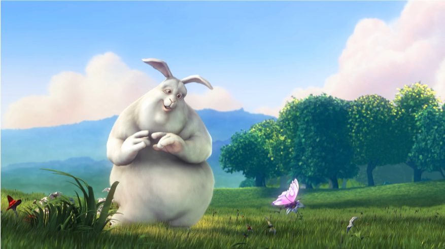 The first of 3 sequential frames of video from Big Buck Bunny at 30 fps. Notice that most of the content from frame to frame remains the same, only the butterfly's wings change slightly.