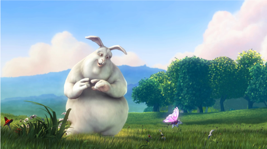 The second of 3 sequential frames of video from Big Buck Bunny at 30 fps. Notice that most of the content from frame to frame remains the same, only the butterfly's wings change slightly.