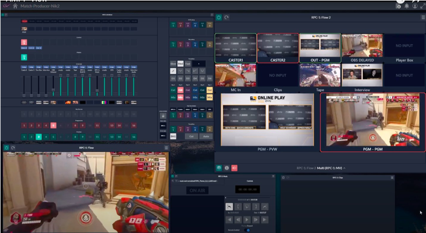 The Overwatch League GV AMPP setup features, clockwise from top left, a virtual audio mixer, switcher, multiviewer, program preview/playout, clip player, and on-air feed.