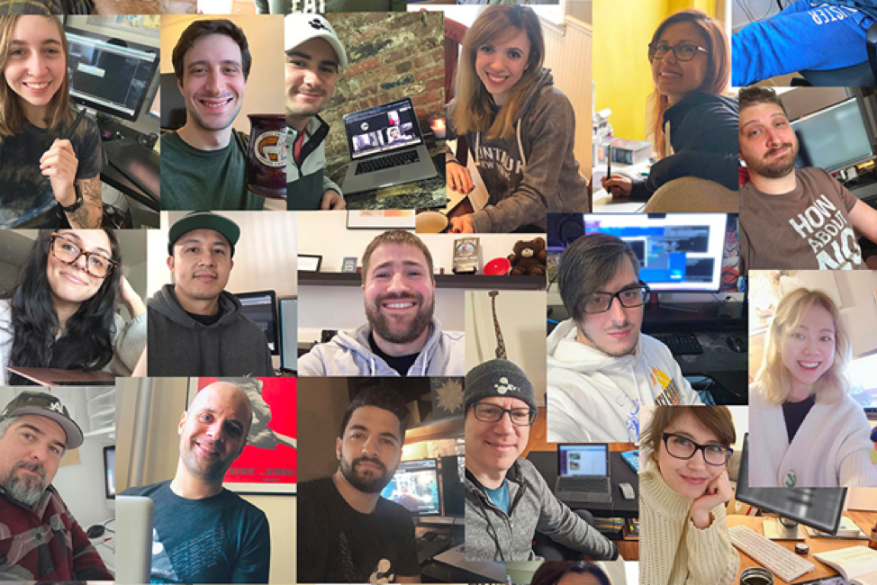 Collage of creatives working remotely using virtual workstations