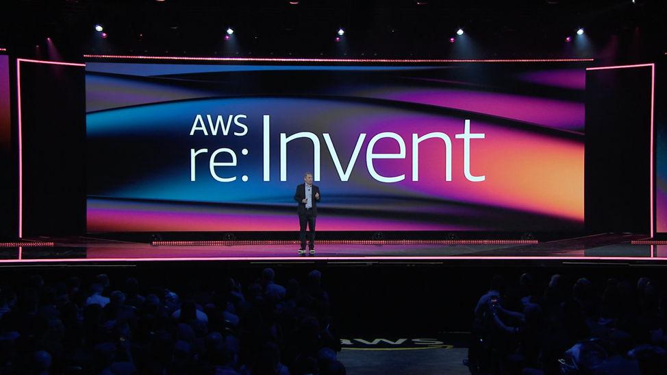A shot from the live stream of Andy Jassy, CEO of Amazon Web Services, delivering the 2019 re:Invent keynote address in Las Vegas.