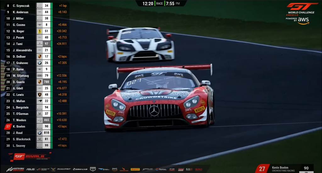 Snapshot of Kevin Bohem, racing driver, in the #90 CrowdStrike Racing Mercedes-AMG GT3 at Spa Francorchamps.