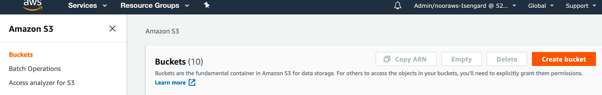 A screenshot of AWS Console showing S3 Buckets