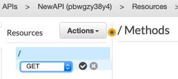 A screenshot showing API Gateway configuration window. Choosing GET as the method for Actions.