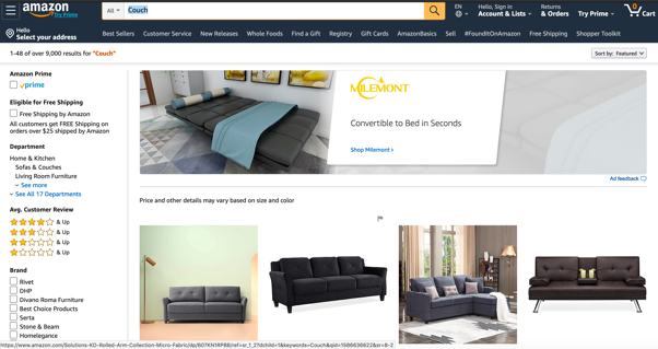A screenshot showing amazon.com page displaying couches.