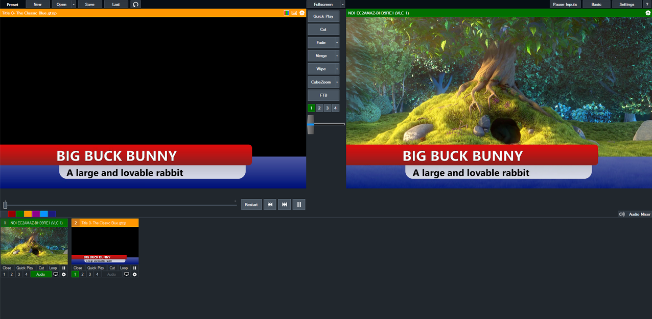 Image of sample video of Big Buck Bunny playing with a graphic overlay in vMix