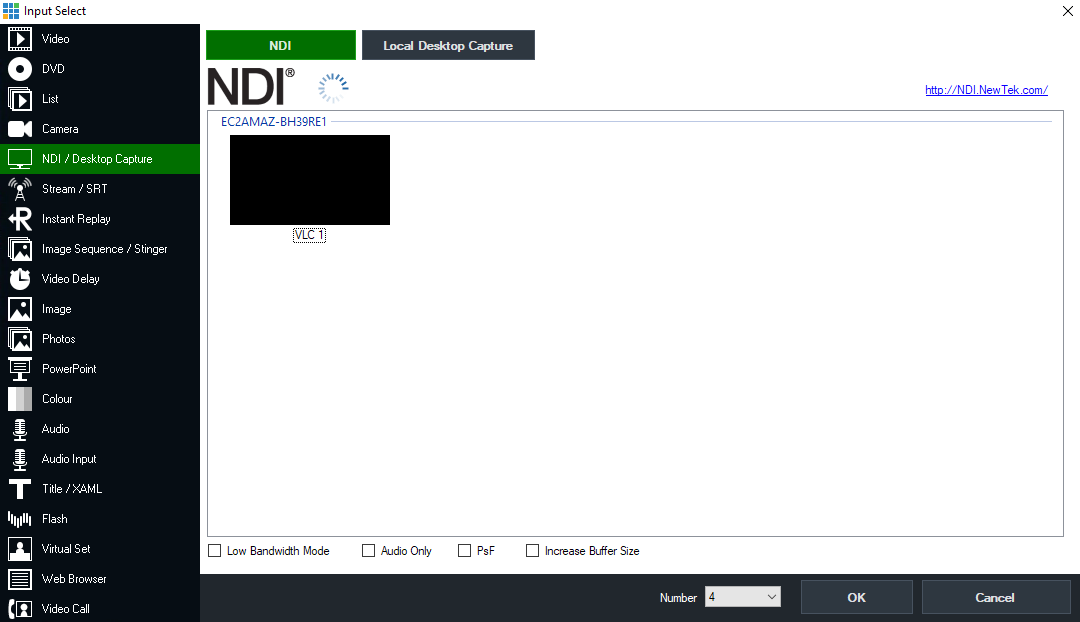 Image of Input select window showing the NDI source in vMix