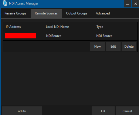 Image manually specifying NDI sources using NDI Access Manager