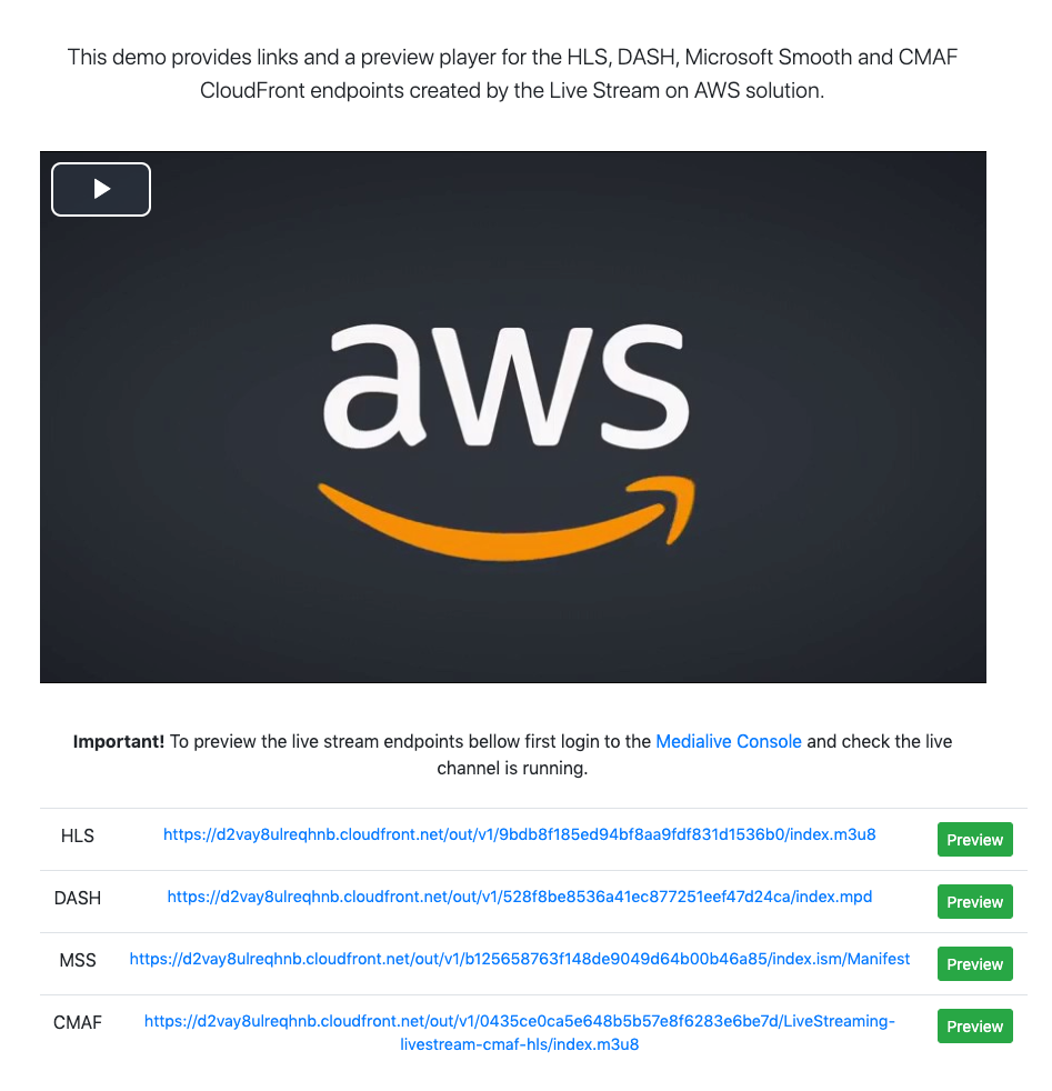 Image of CloudFront web distribution from the Live Streaming on AWS solution