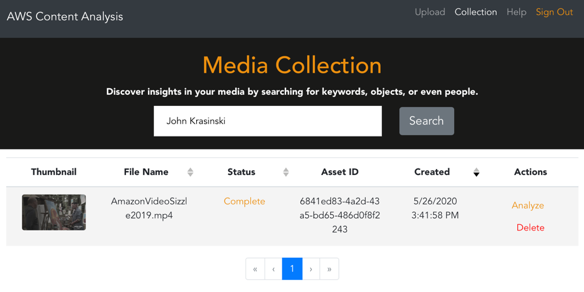 Image showing the AWS Content Analysis window, and the Media Collection search banner