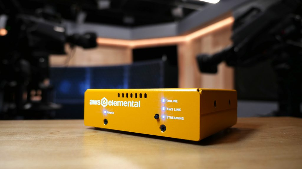 Professional photo of an AWS Elemental Link device in a production studio