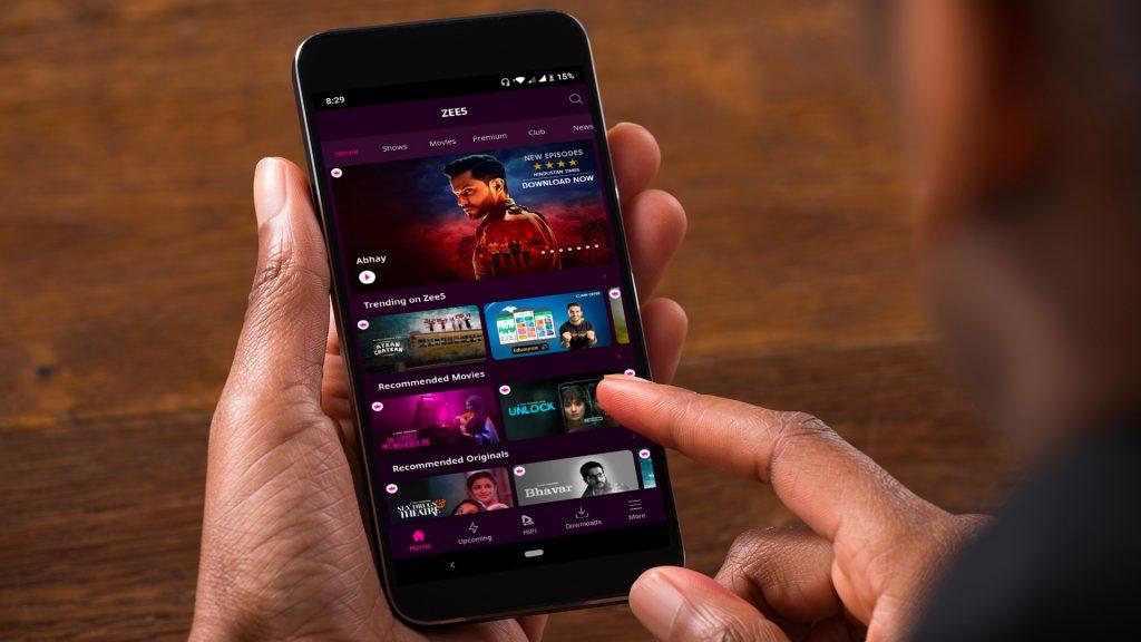 Zee5 GUI on a phone