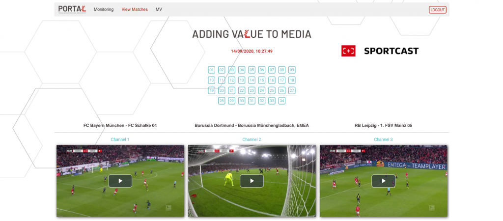 The streaming platform architected by DFL and Logic Media is powered by virtualized content management UI, showing three channel feeds