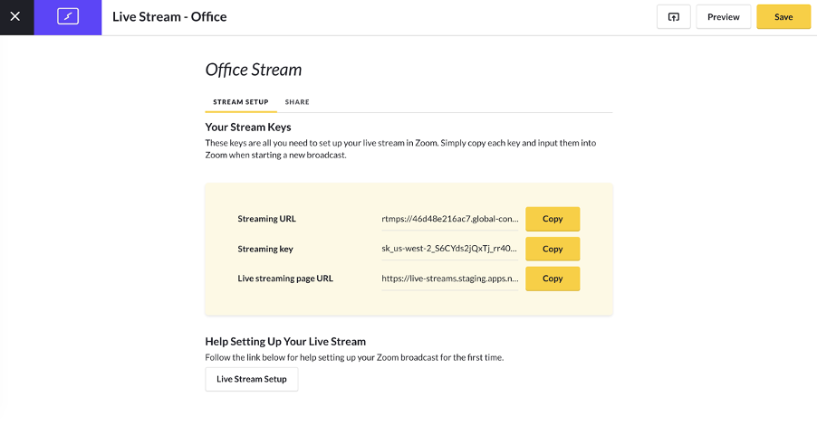 Configuring a live stream