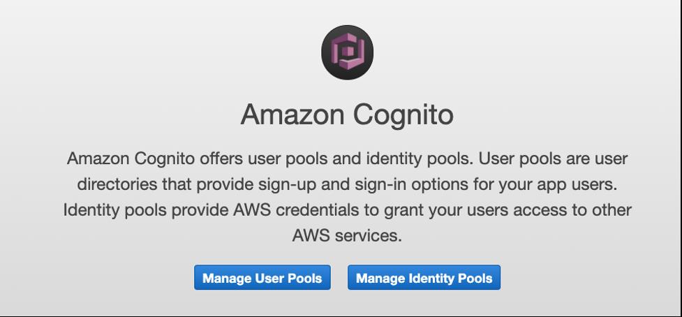 Amazon cognito console screen