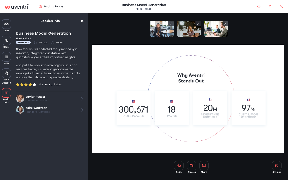 """The Aventri UI showing an event titled """"Business Model Generation"""", along with the session description, presenters, rating, attendees and presentation screen."""