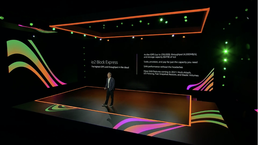 A screenshot from AWS CEO, Andy Jassy as he presented on stage for the 2021 re:Invent Keynote presentation.
