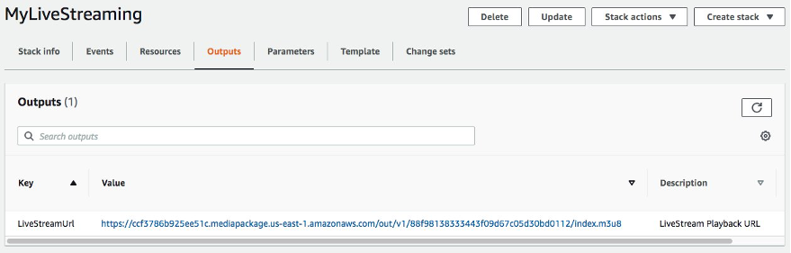 Outputs tab of the deployed CloudFormation template