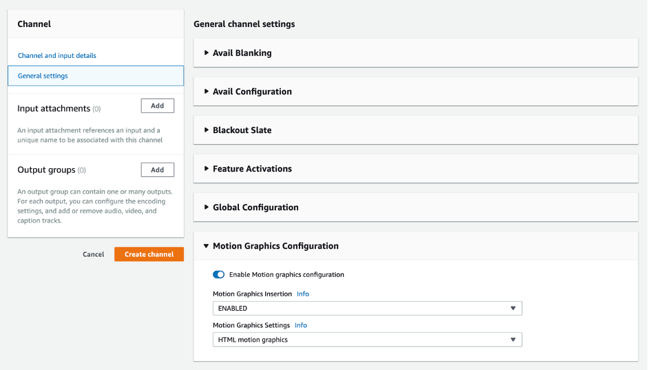AWS MediaLive configuration window showing the option to enable and disable motion graphics