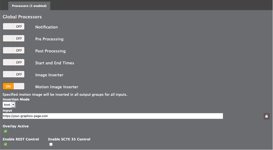 The elemental live event configuration showing the motion graphics inderter configuration. The insertion mode is set to HTML