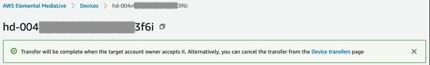 Transfer device success notification