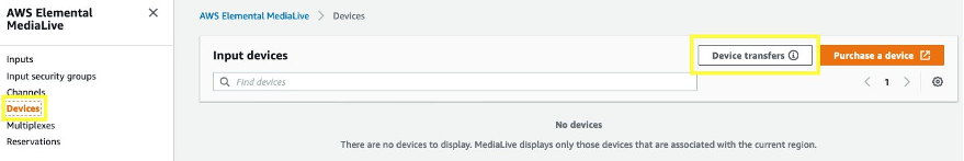 MediaLive Management Console, Devices page