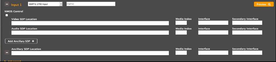 Image of UI for Elemental Live SMPTE 2110 Input
