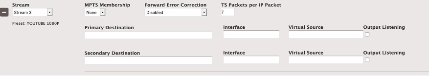 UI of Elemental Live UDP/TS output group showing primary and secondary output destinations.