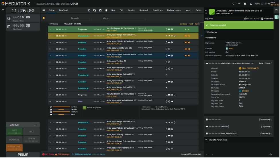 The Evertz Mediator-X Playlist Task allowing operators to manage multiple playout channels via the user interface.