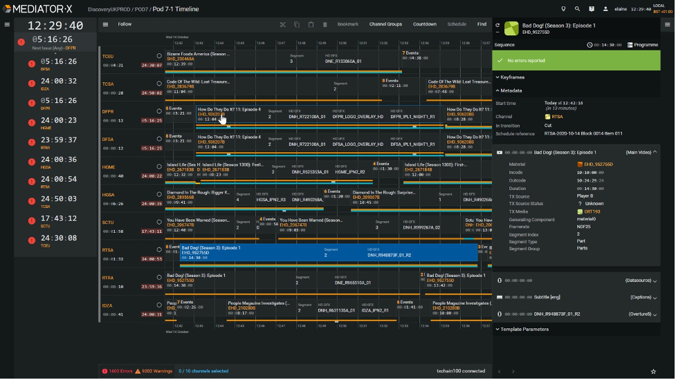 The Evertz Mediator-X Timeline Task allowing operators to manage multiple playout channels via the user interface.