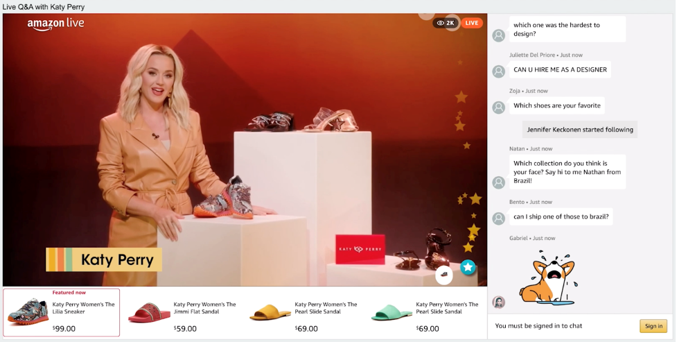 Katy Perry livestreamed on April 28, 2021 for the launch of her new shoe collection. During the stream, she took viewers through the design process, and her sources of inspiration.