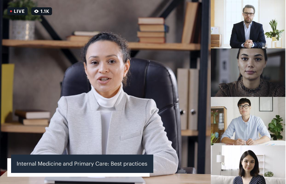 """A video call of a conference panel """"Internal Medicine and Primary Care"""", showing an active speaker and four additional guests, is also live streamed"""