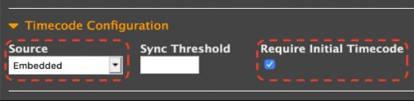 [Timecode Configuration] settings