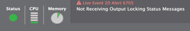 An alert that indicates the event is not locked with any other events