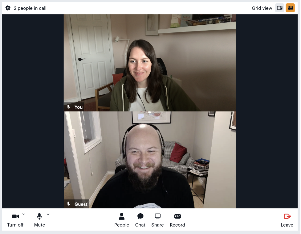 Daily's embedded iframe with two call participants