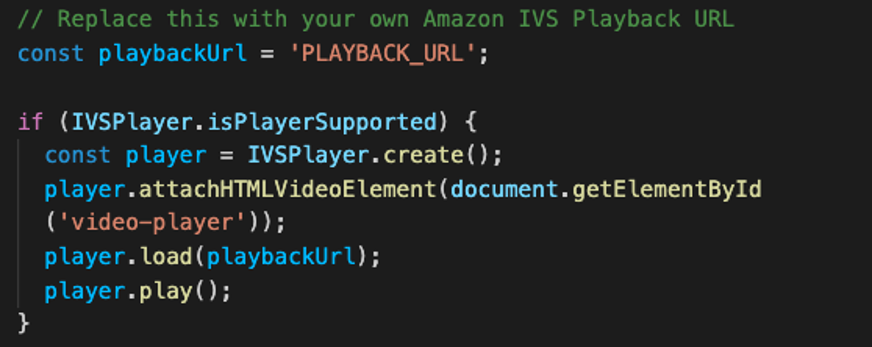Example code from the Amazon IVS basic web sample repo