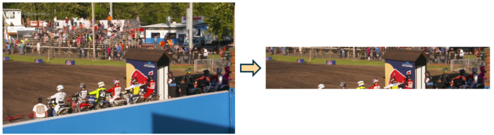 Full screen image on the left, middle third of the same image shown on the right