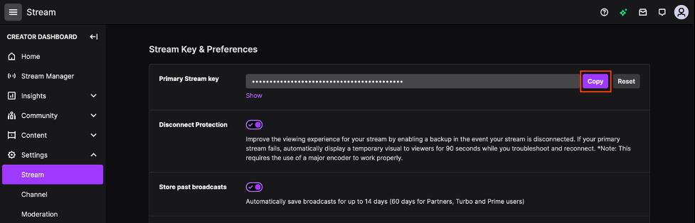 Twitch dashboard, stream settings, copy the primary stream key