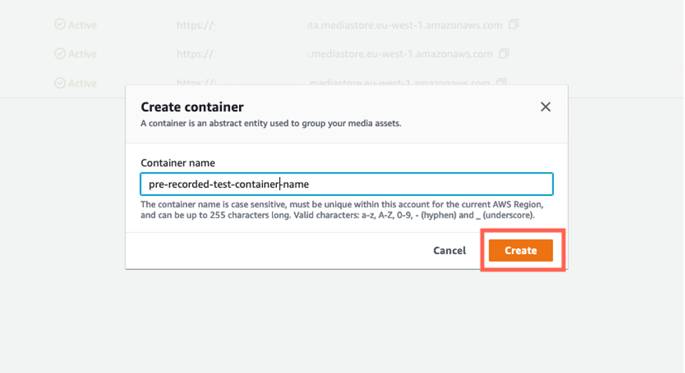 Create a MediaStore container