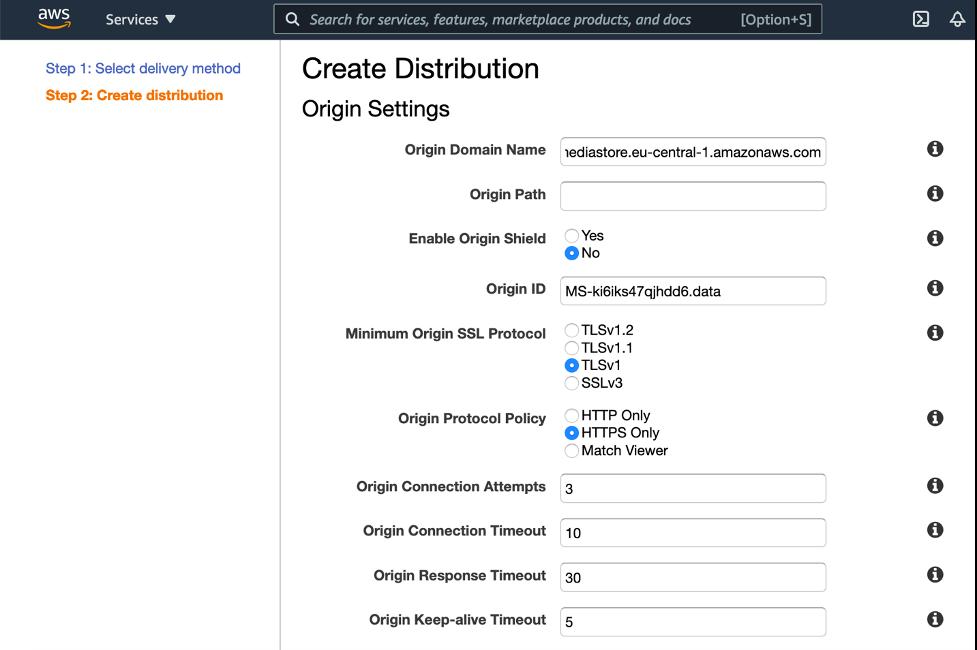 Create a CloudFront Distribution using MediaStore as origin