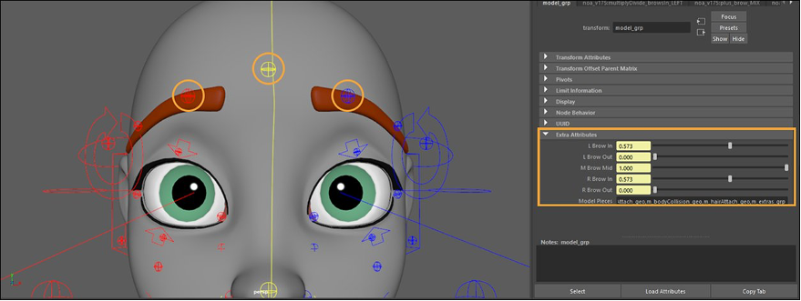 Brow controls translated up in Y axis