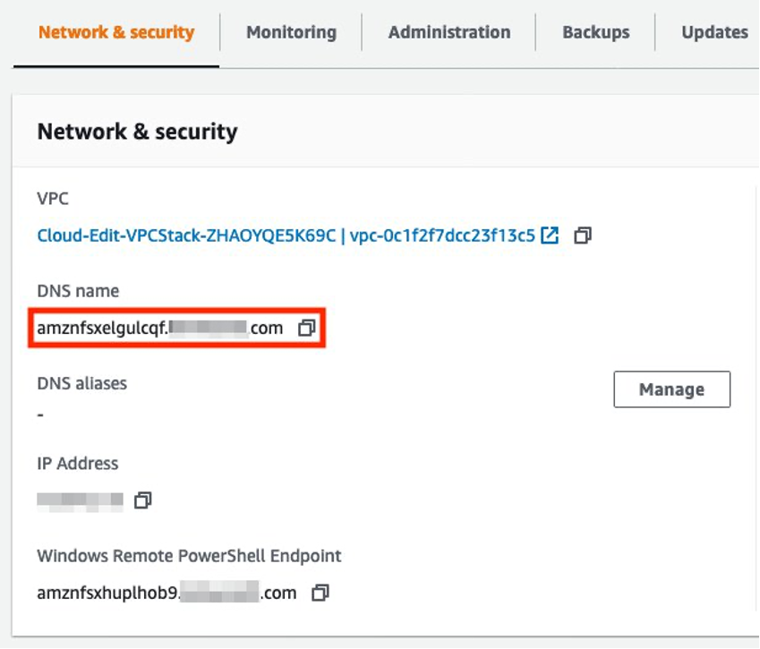 In the Amazon FSX console, in the network and security tab. We need to retrieve the DNS name for the file share.