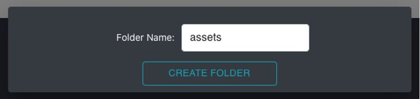 This is the create folder window. You can enter a folder name and choose create folder.