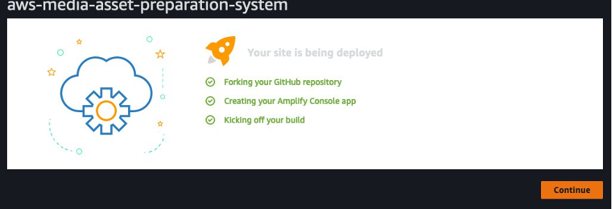 When you click Save and Deploy, Amplify will fork the repository, create your Amplify console application, and kick-off the build process for the backend.