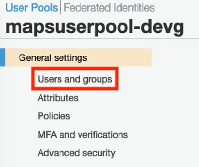In the Cognito User Pool, select Users and Groups from the General Settings side bar.