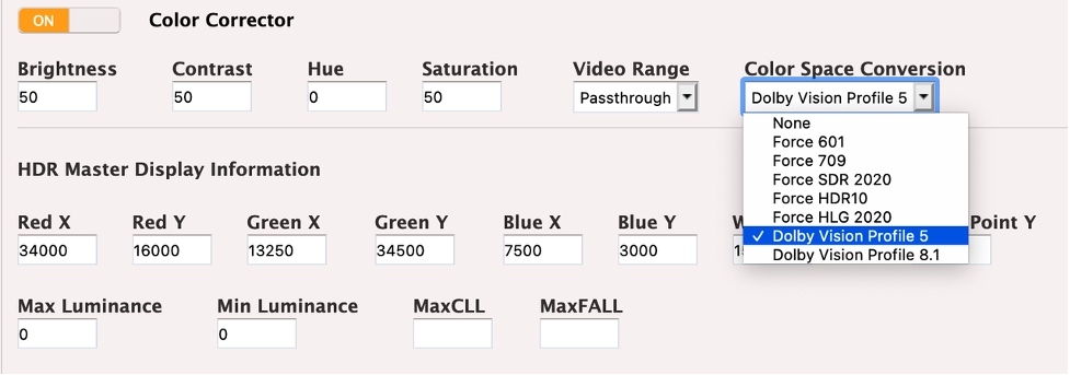 The Dolby Vision settings in the AWS Elemental Live software GUI
