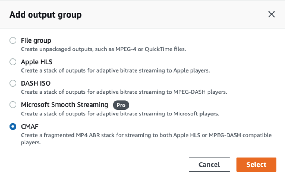 Add CMAF output group