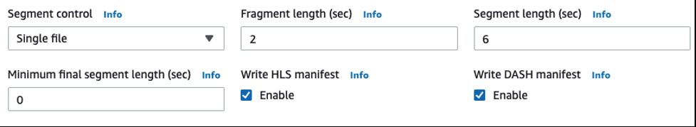 Settings for segment control, fragment length, segment length.