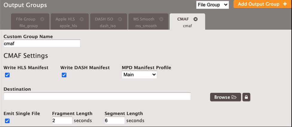 Elemental Server CMAF Output
