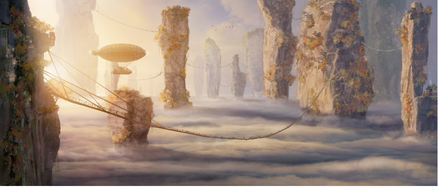 A cloudscape at ground level offers a concept for the sea of clouds